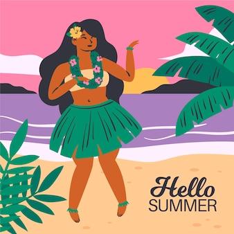 Ręcznie rysowane styl witaj lato