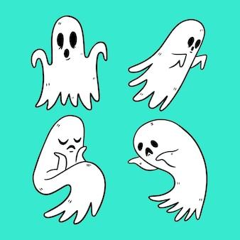 Ręcznie rysowane styl zestaw duchów halloween