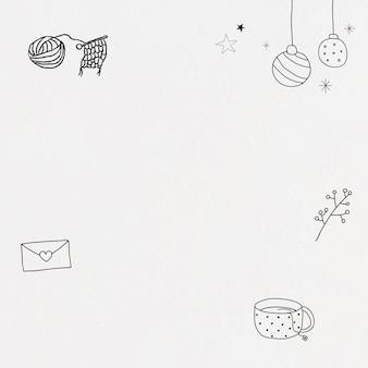 Ręcznie rysowane styl życia rama wektor ładny zimowy doodle ilustracja