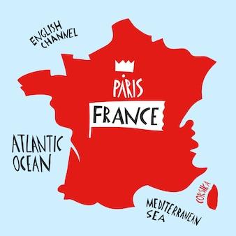 Ręcznie rysowane stylizowana mapa francji. podróżuje ilustrację z wodnymi nazwami.