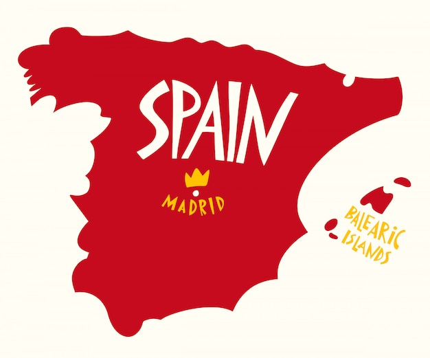 Ręcznie rysowane stylizowana mapa hiszpanii.