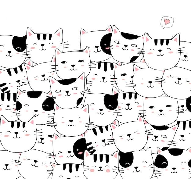 Ręcznie rysowane stylu biały ładny kot kreskówka zwierząt