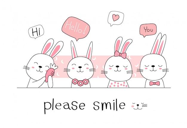 Ręcznie rysowane stylu, cute królik kreskówka królik doodle pastelowe tapety