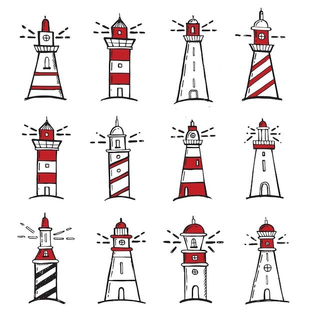 Ręcznie rysowane stylu ilustracji latarni morskiej
