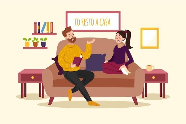 Ręcznie rysowane stylu ludzi w domu