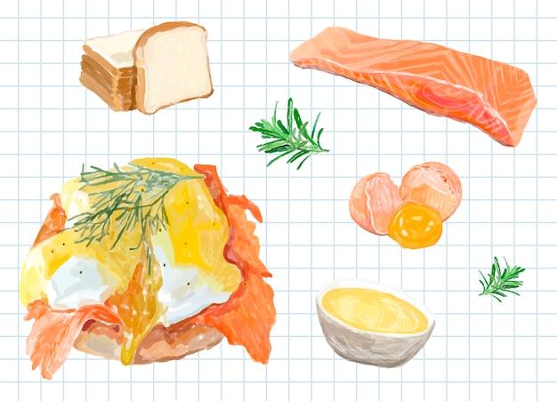 Ręcznie rysowane stylu przypominającym akwarele jajka