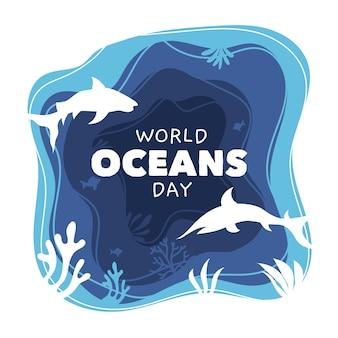 Ręcznie rysowane stylu światowy dzień oceanów