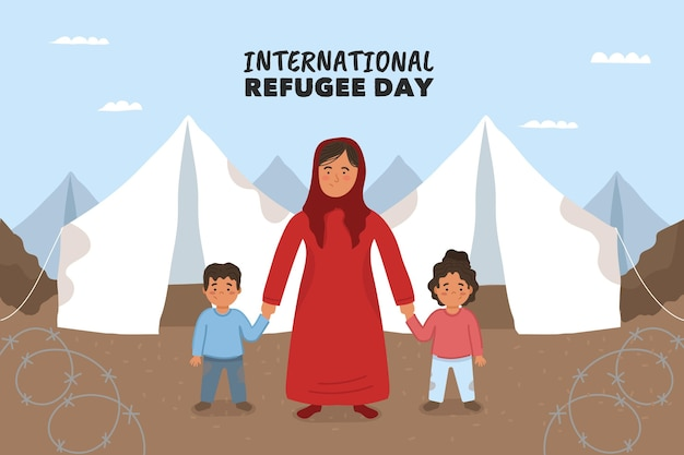 Ręcznie rysowane stylu światowy dzień uchodźcy