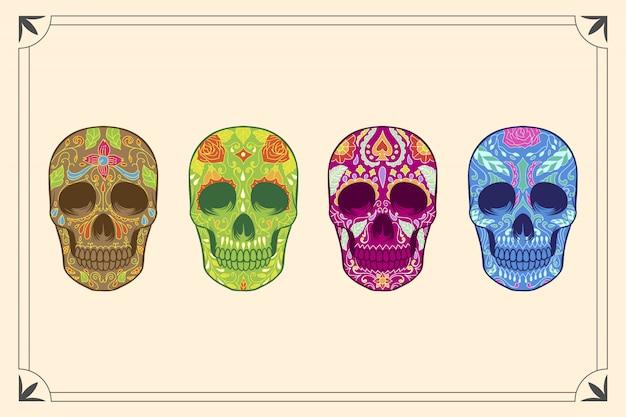 Ręcznie rysowane sugar skull collection