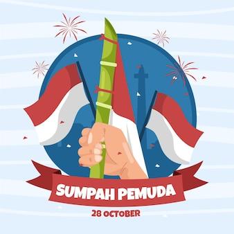 Ręcznie rysowane sumpah pemuda