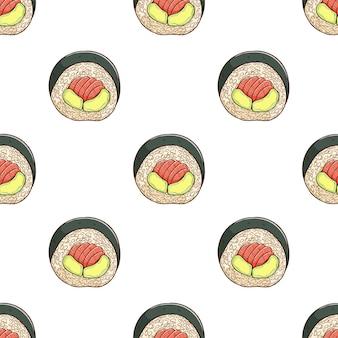 Ręcznie rysowane sushi wzór