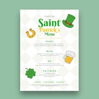 Ręcznie rysowane św. szablon menu pionowego na dzień patryka