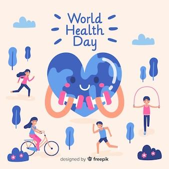 Ręcznie rysowane świat zdrowia dzień tło