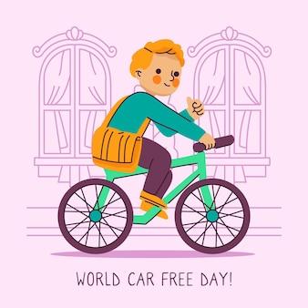 Ręcznie rysowane świata bez samochodu dzień koncepcji