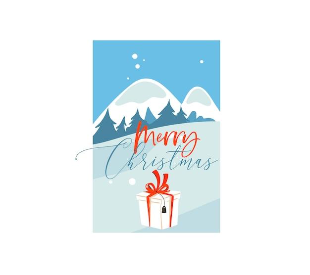 Ręcznie rysowane świąteczna ilustracja duże pudełko niespodzianka na zewnątrz na zimowy krajobraz na białym tle