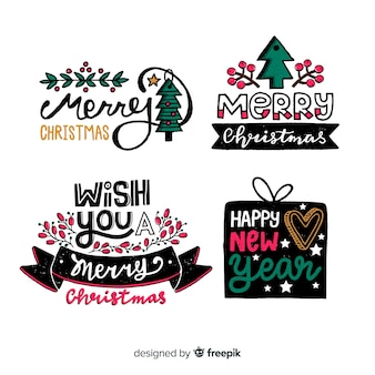 Ręcznie rysowane świąteczna kolekcja etykiet