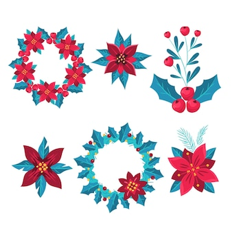 Ręcznie rysowane świąteczna kolekcja kwiatów i wieńców
