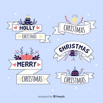 Ręcznie rysowane świąteczną kolekcję wstążek