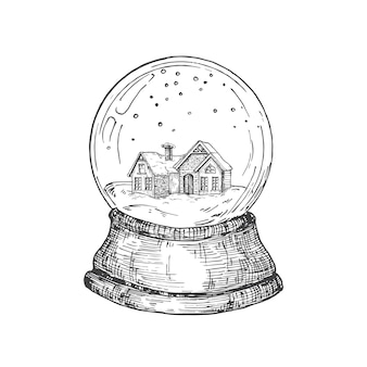 Ręcznie rysowane świąteczna kula śnieżna z domkiem z zabawkami wewnątrz abstrakcyjny szkic ilustracji wektorowych zima holi...