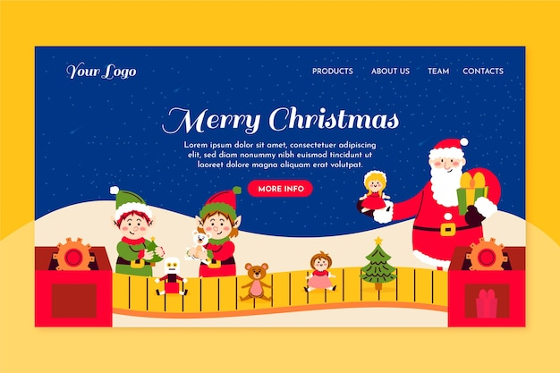Ręcznie rysowane świąteczna strona docelowa