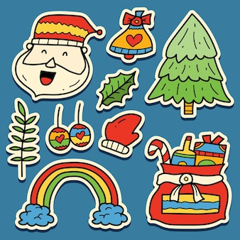 Ręcznie rysowane świąteczne doodle projekt naklejki z kreskówek