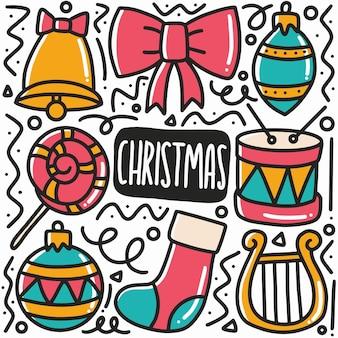 Ręcznie rysowane świąteczne doodle zestaw z ikonami i elementami projektu