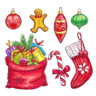 Ręcznie rysowane świąteczne elementy dekoracyjne