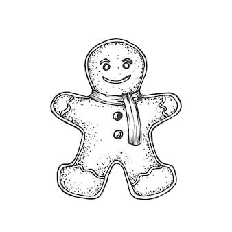 Ręcznie rysowane świąteczne imbirowe ciastko człowiek ilustracja wektorowa streszczenie szkic ferie zimowe grawerowanie ...