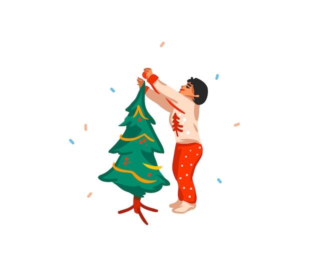 Ręcznie rysowane świąteczne karty wesołych świąt i szczęśliwego nowego roku kreskówka