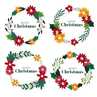 Ręcznie rysowane świąteczne kwiaty i wieńce