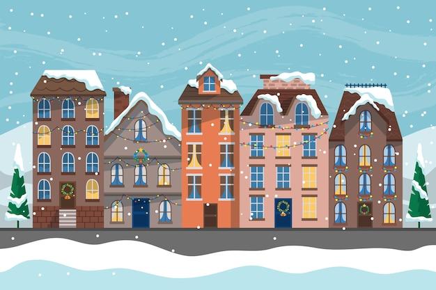 Ręcznie rysowane świąteczne miasto