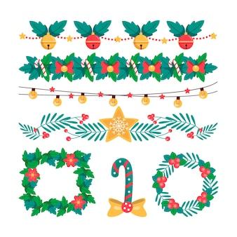 Ręcznie rysowane świąteczne ramki i obramowania