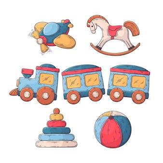 Ręcznie rysowane świąteczne zabawki paczka