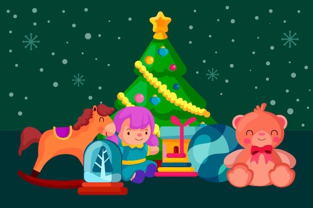 Ręcznie rysowane świąteczne zabawki tło