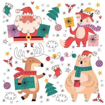 Ręcznie rysowane świąteczne zbiory kolekcji