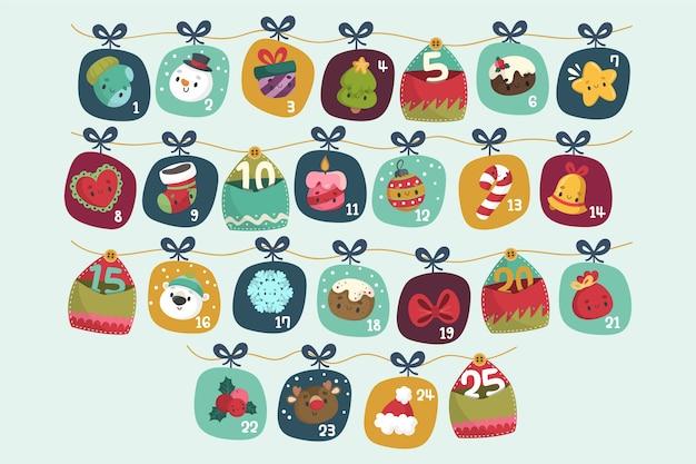 Ręcznie rysowane świąteczny kalendarz adwentowy