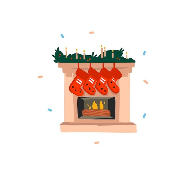 Ręcznie rysowane świąteczny kominek i skarpetki na prezent na białym tle