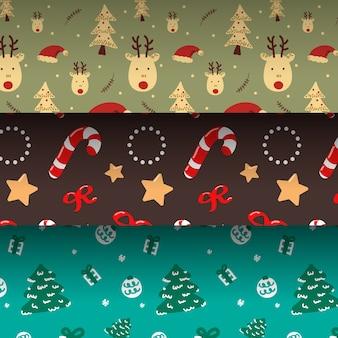 Ręcznie rysowane świąteczny wzór kolekcji