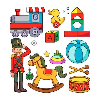 Ręcznie rysowane świątecznych kolekcji zabawek