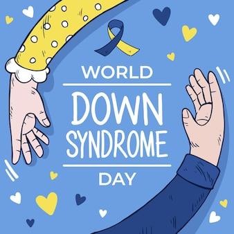 Ręcznie rysowane światowa ilustracja dzień zespołu downa z rękami i sercami