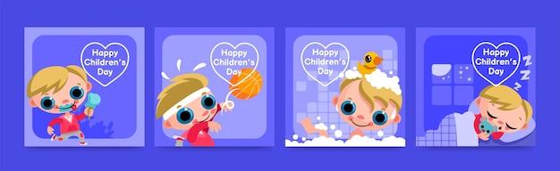 Ręcznie rysowane światowe posty na instagramie z okazji dnia dziecka