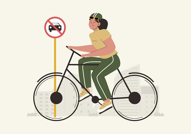 Ręcznie rysowane światowy dzień bez samochodu z kobietami korzystającymi z roweru i bez samochodu znak płaskiej ilustracji. koncepcja światowego dnia środowiska. transport przyjazny dla środowiska