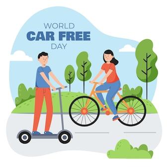 Ręcznie rysowane światowy dzień bez samochodu