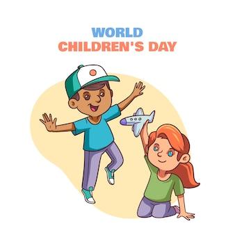 Ręcznie rysowane światowy dzień dziecka ilustracja