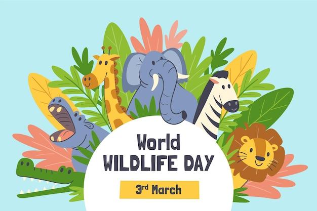 Ręcznie rysowane światowy dzień dzikiej przyrody ze zwierzętami