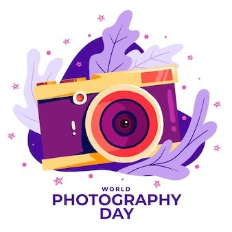 Ręcznie rysowane światowy dzień fotografii