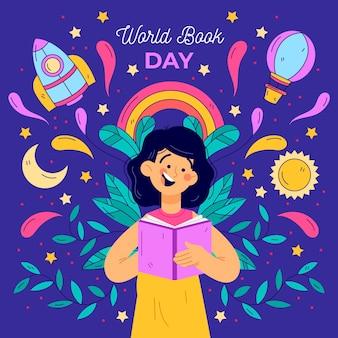Ręcznie rysowane światowy dzień książki