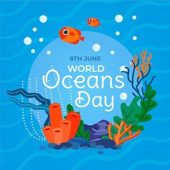 Ręcznie rysowane światowy dzień oceanów
