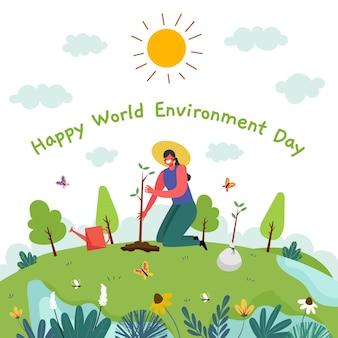 Ręcznie rysowane światowy dzień ochrony środowiska, aby zapisać ilustrację planety