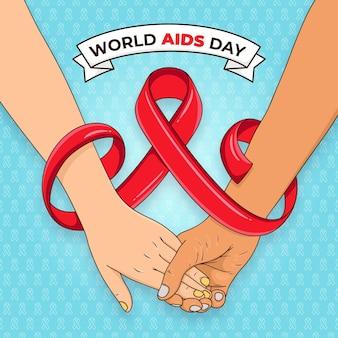 Ręcznie rysowane światowy dzień pomocy
